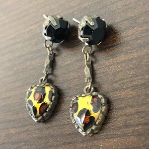 Betsey Johnson Cheetah Heart Earrings 🐆Fun n Wild
